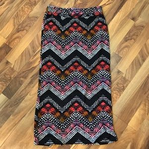 Cato • Zig-Zag Patterned Multi-Colored Maxi Skirt